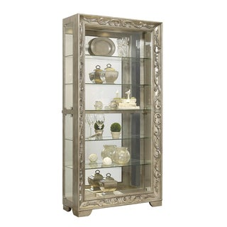Platinum Finish Sliding Front Door Curio Cabinet