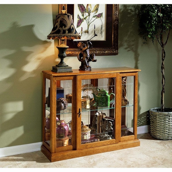 Golden Oak Console Front Door Entry Curio Cabinet