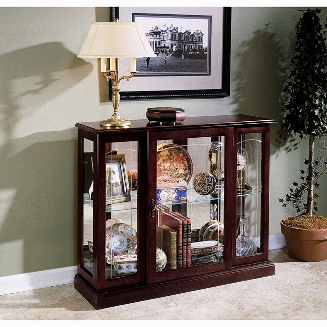 Ridgewood Cherry Console Front Door Entry Curio Cabinet (...
