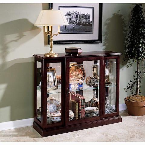 Ridgewood Cherry Console Front Door Entry Curio Cabinet - 40 x 13 x 33