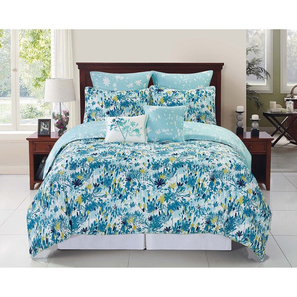 Devon 6 - 8-piece Reversible Blue Floral Comforter Set