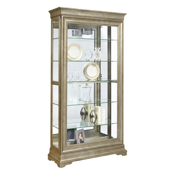 Aged Silver Finish Two Way Slider Curio Cabinet With Sliver Gold Finish