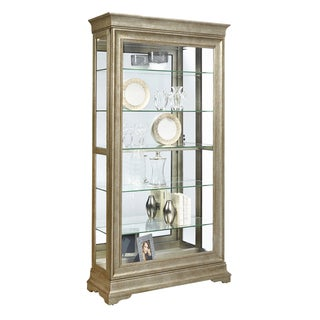 Aged Silver Finish Two-way Slider Curio Cabinet with Sliver Gold Finish