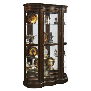 Brown Mid-tone Shaped Front Curio Cabinet