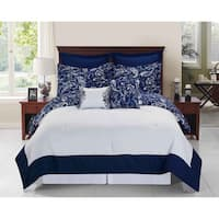 Copper Grove Grandiflorus Navy and White 6 - 8-piece Comforter Set