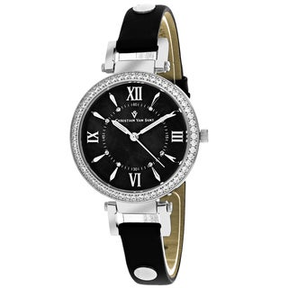 Christian Van Sant Women's CV8134 Petite Round Black Leather Strap Watch