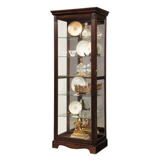 Dark Brown Wood Two-way Slider Curio Cabinet