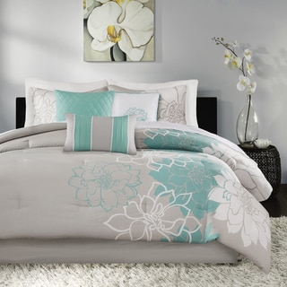 Madison Park Brianna Blue Cotton 7-piece Comforter Set