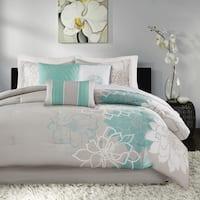 Madison Park Brianna Blue Cotton 7-piece Comforter Set