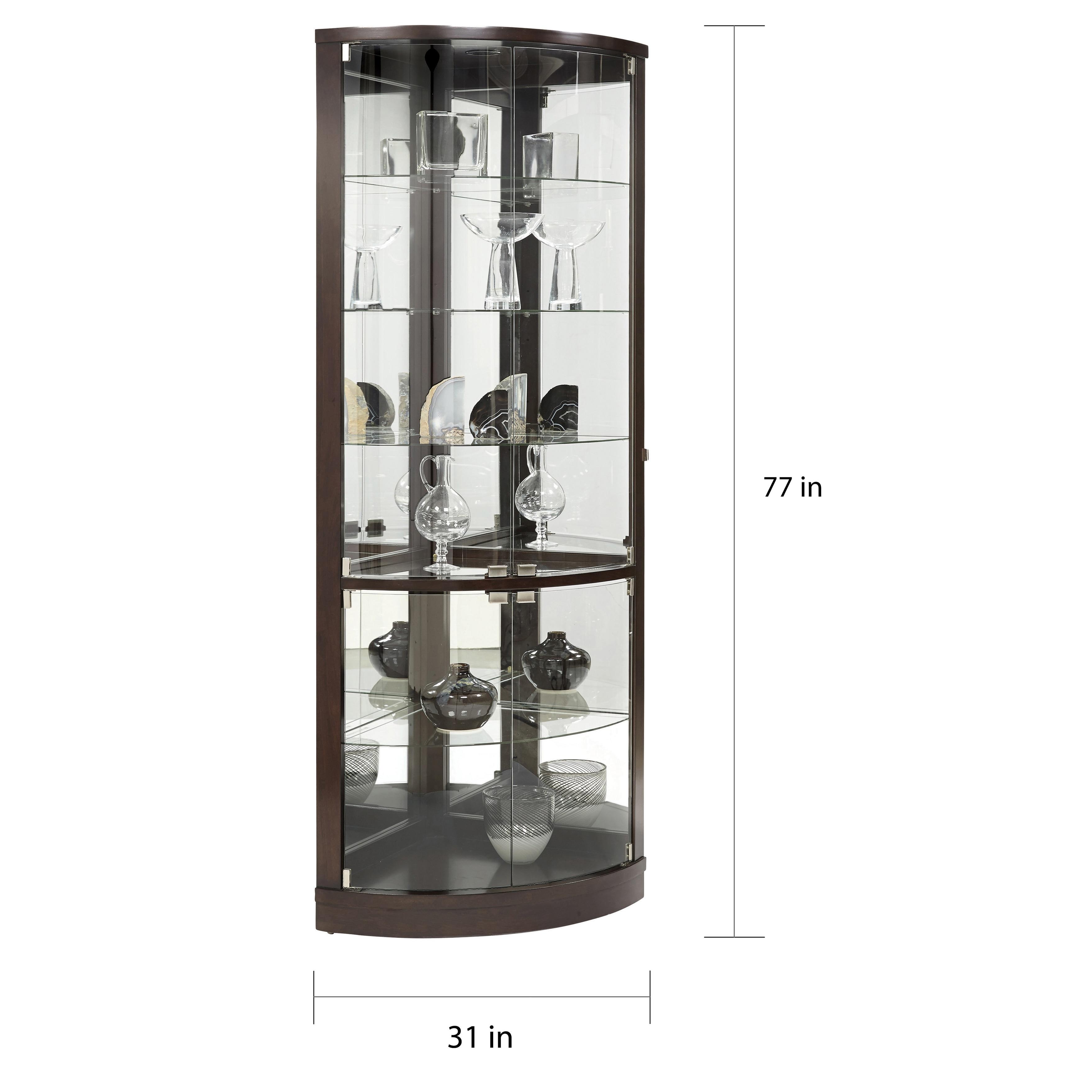 Brown Half Round Corner Curio Cabinet