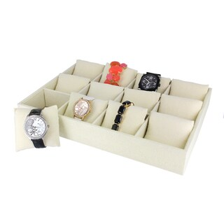 Caddy Bay Collection Linen 12 Watch Tray