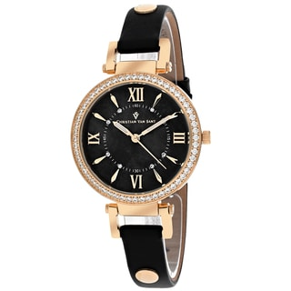 Christian Van Sant Women's CV8135 Petite Round Black Leather Strap Watch