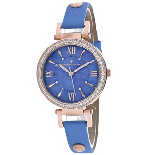 Christian Van Sant Women's CV8137 Petite Round Blue Leather Strap Watch