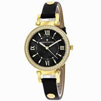 Christian Van Sant Women's CV8136 Petite Round Black Leather Strap Watch