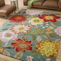 Nourison Fantasy Floral Aqua Rug - 5' x 7'6