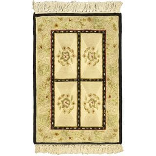 Ecarpetgallery Hand-knotted Opulence Beige Wool Rug (2' x 3')