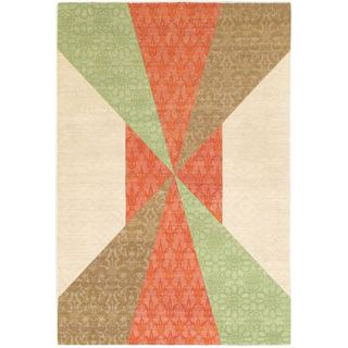 Ecarpetgallery Handmade Abstract Collage Patterned Dhurrie Rug (3'11 x 5'9)