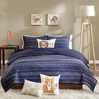 INK+IVY Kids Oliver Navy Cotton Coverlet Set