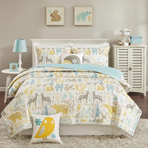 Taylor & Olive Bricky Woodland Aqua Coverlet Set