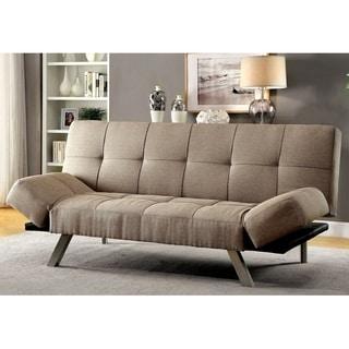 Furniture of America Leisha Adjustable Light Brown Futon Sofa