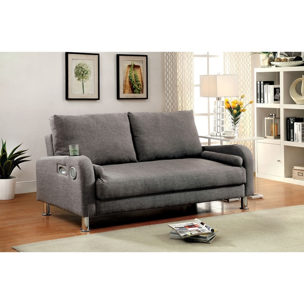 Furniture of America Parso Modern Grey Futon Sofa with Bluetooth Speakers