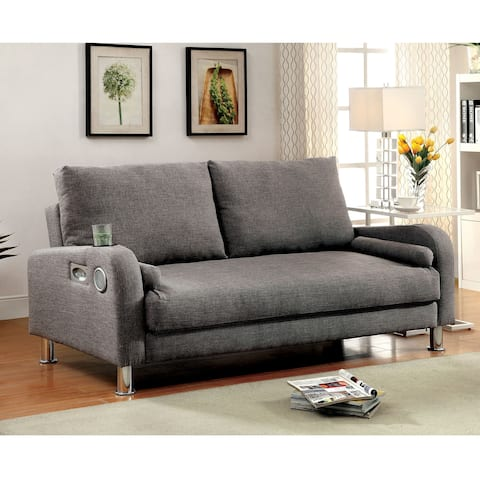 Parso Modern Grey Futon Sofa with Bluetooth Speakers by FOA