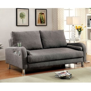 Furniture of America Parso Modern Grey Futon Sofa with Bluetooth Speakers