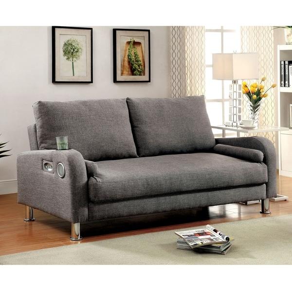 Shop Parso Modern Grey Futon Sofa With Bluetooth Speakers