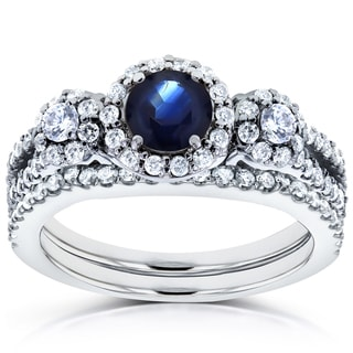 Annello by Kobelli 14k White Gold 1 1/5ct TCW Sapphire and Diamond 2 Piece Bridal Rings Set