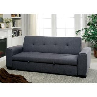 Furniture of America City Contemporary Grey Linen Fabric Futon Sofa
