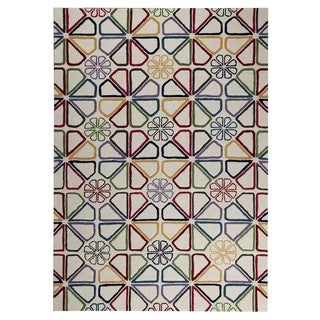 M.A.Trading Hand-Tufted Indo Continuu White/ Multi Rug (5'2 x 7'6)