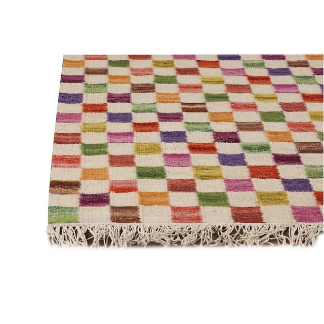 "M.A. Trading Indo Small Box White/ Multi Rug - 8'3"" x 11'6"""