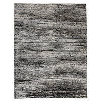 M.A.Trading Hand-Woven Indo Nature White/ Black Rug (8'3 x 11'6)