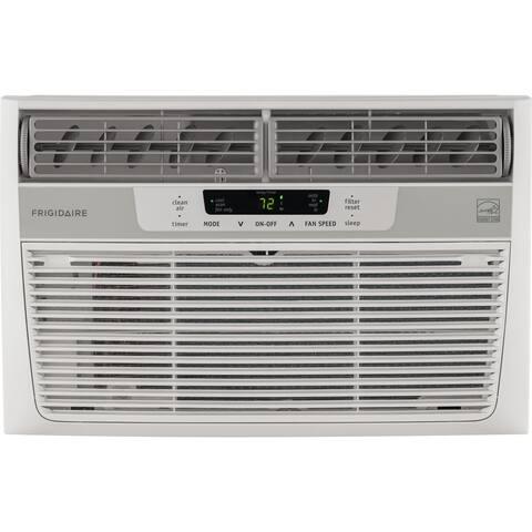 Frigidaire White FFRE0833S1 8,000 BTU 115V Window-Mounted Mini-Compact Air Conditioner with Temperature-Sensing Remote Control