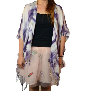 Tie-Dye Print Fringe Trim Poncho (Option: Purple)