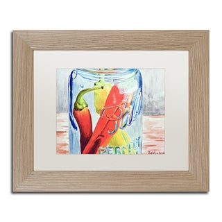 Jennifer Redstreake 'Ball Jar with 3 Peppers' Matted Framed Art