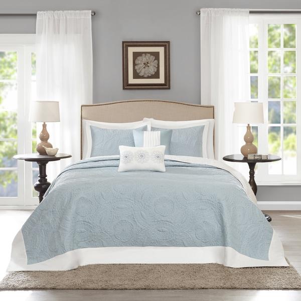 Madison Park Stanton Blue Reversible Bedspread Set