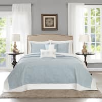 Madison Park Stanton Blue Reversible Bedspread Set