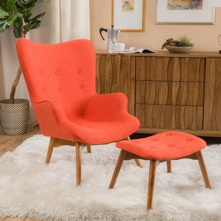 Hariata Mid-Century Modern Wingback Fabric Chair and Ottoman Set by Christopher Knight Home