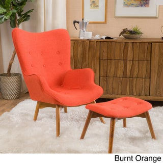 Hariata Fabric Contour Chair with Ottoman Set by Christopher Knight Home (3 options available)