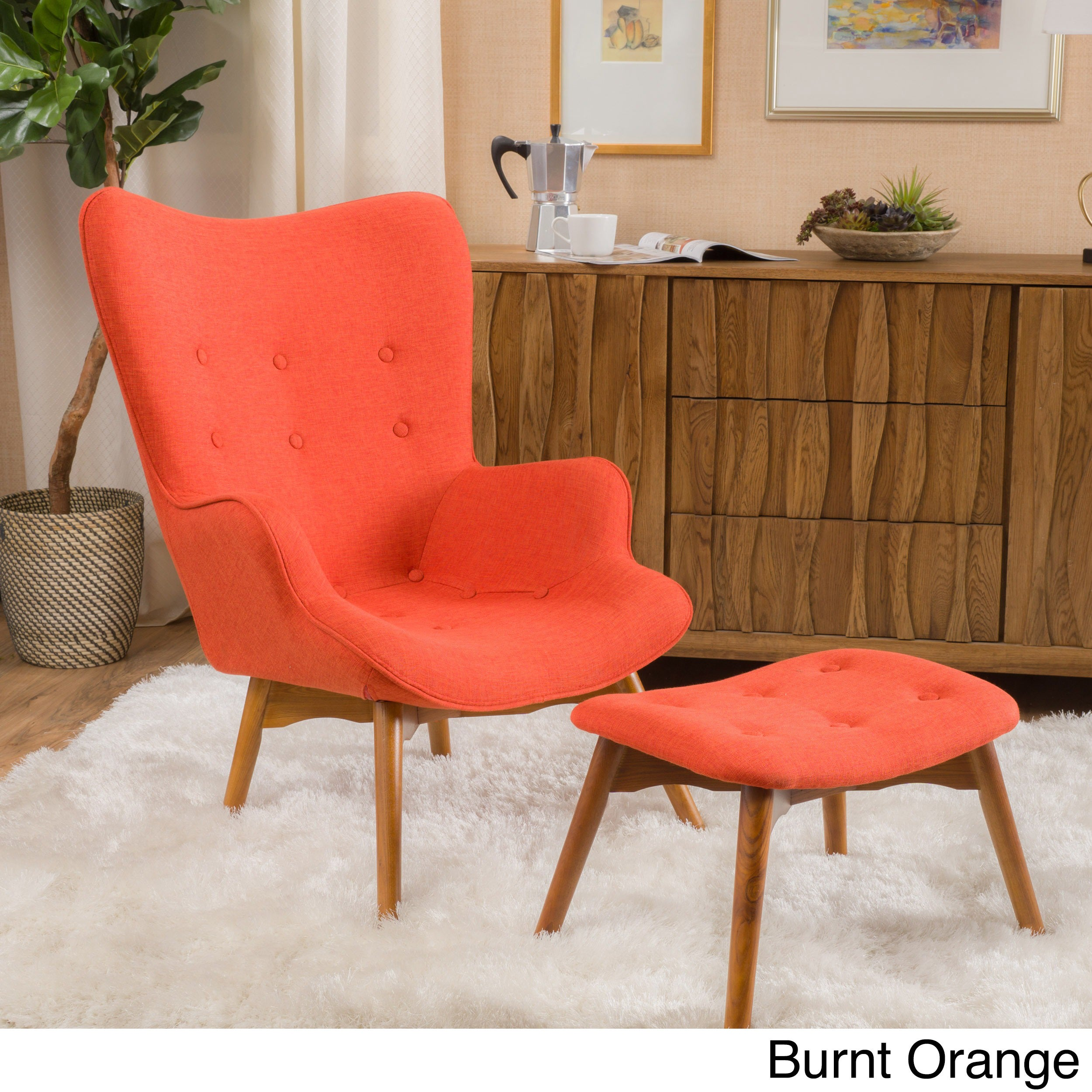 Merveilleux Hariata Fabric Contour Chair With Ottoman Set By Christopher Knight Home  (Option: Orange)