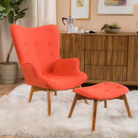 Hariata Fabric Contour Chair with Ottoman Set by Christopher Knight Home