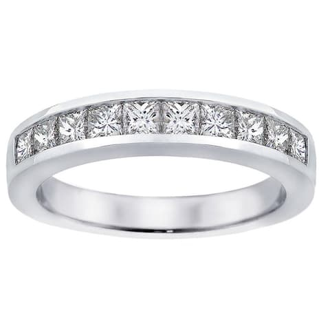 Platinum 1ct TDW Channel-set Princess-cut Diamond Wedding Ring