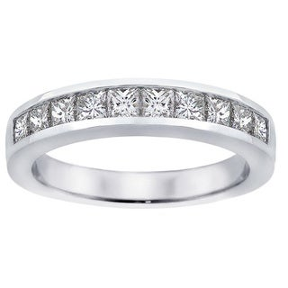 Platinum 1ct TDW Channel-set Princess-cut Diamond Wedding Ring