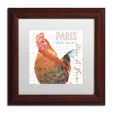 Jennifer Redstreake 'Dans la Ferme Rooster I' Matted Framed Art
