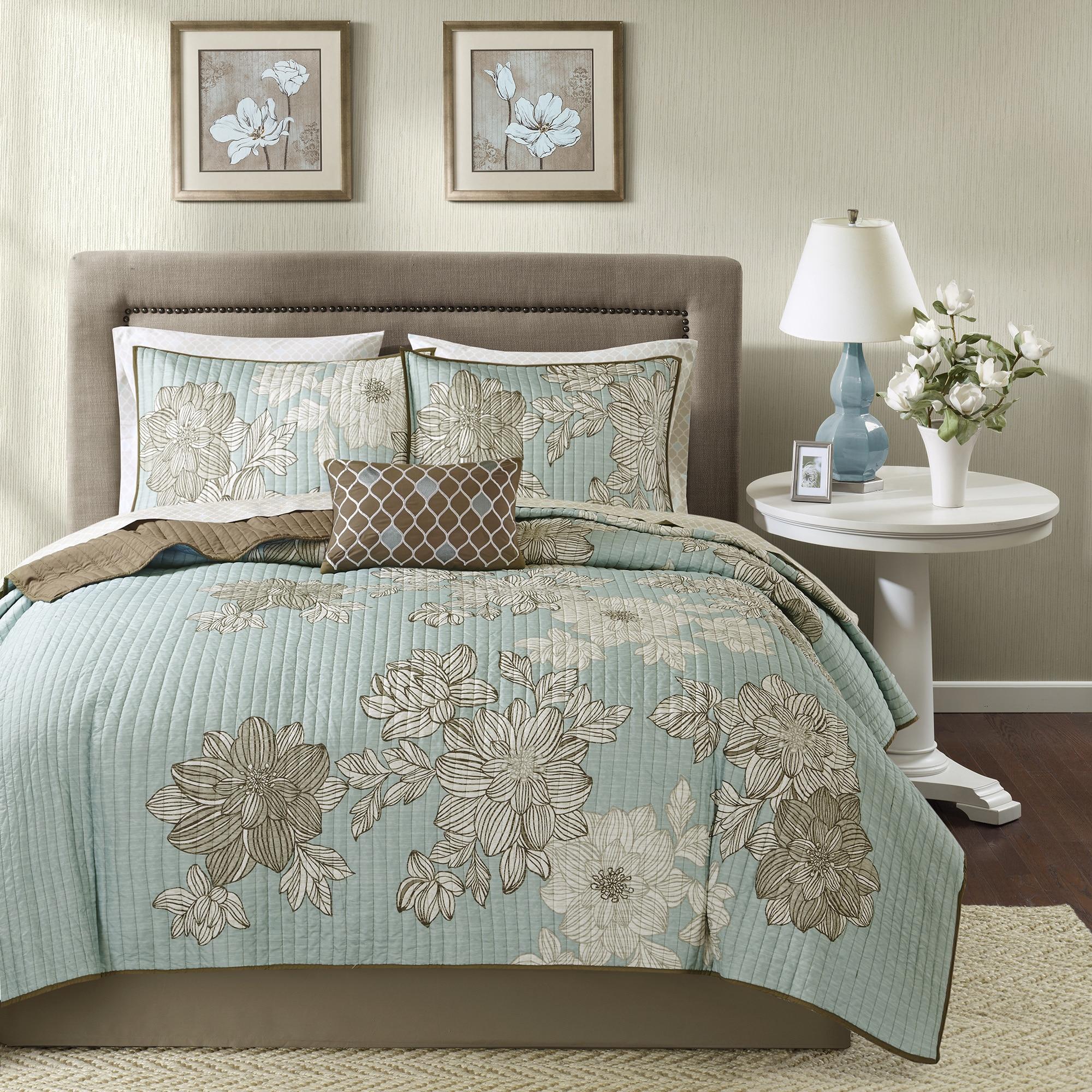 bed full pinstripe down com overstock bedding dp microfiber kitchen comforter elle queen amazon home