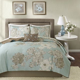Madison Park Essentials Brady Blue Complete Coverlet Set