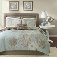 Madison Park Essentials Brady Blue Complete Coverlet and Cotton Sheet Set