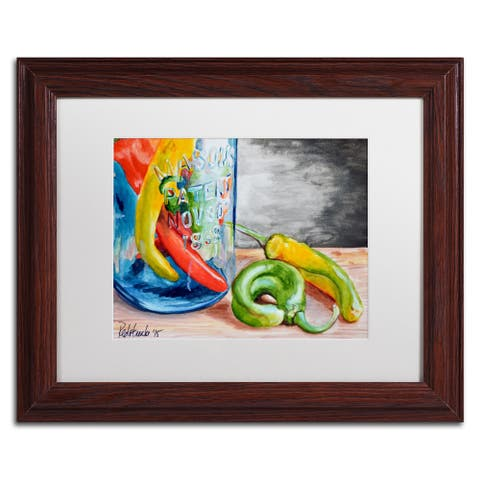 Jennifer Redstreake 'Chili Peppers' Matted Framed Art