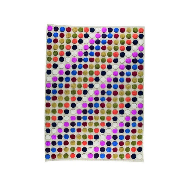 M.A.Trading Hand-Knotted Indo Smarties White/ Multi Rug (6'6 x 9'9)